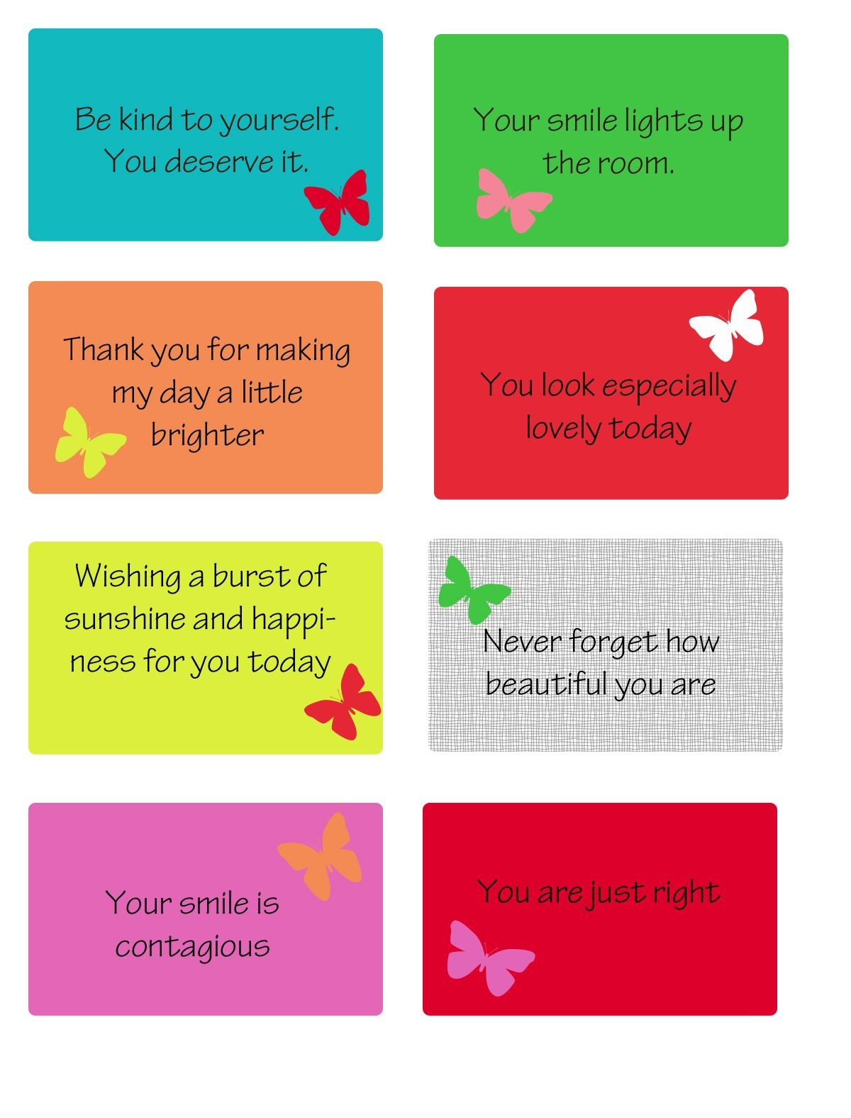 Free Printable Kindness Cards | Random Love | Kindness Projects - Free Printable Compliment Cards