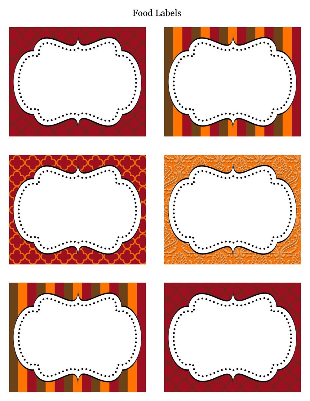 Free Printable Labels & Tags - For Food Buffet. Just Printed Them - Fancy Labels Printable Free