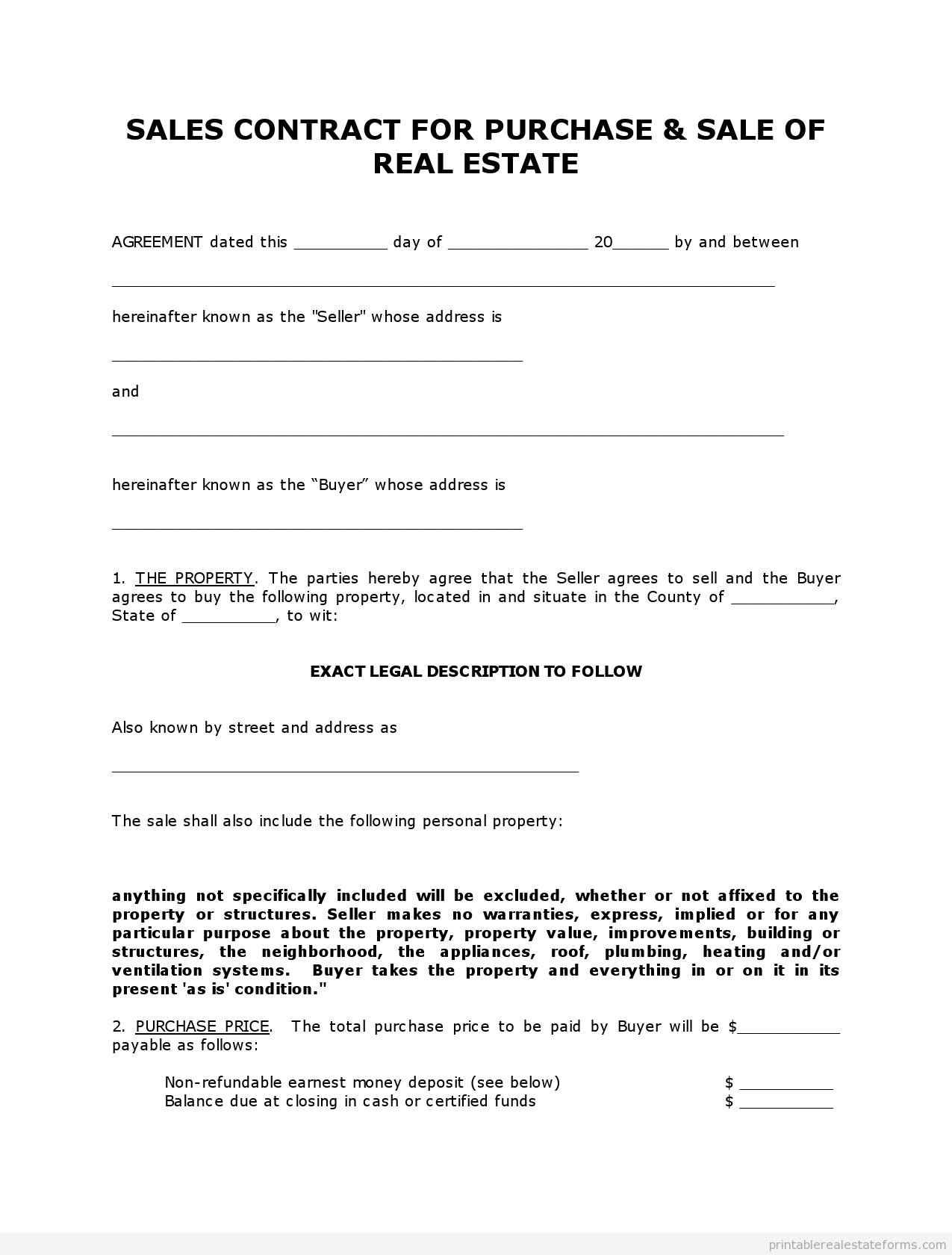 Free Printable Land Contract Forms (Word File) - Free Printable Purchase Agreement Forms