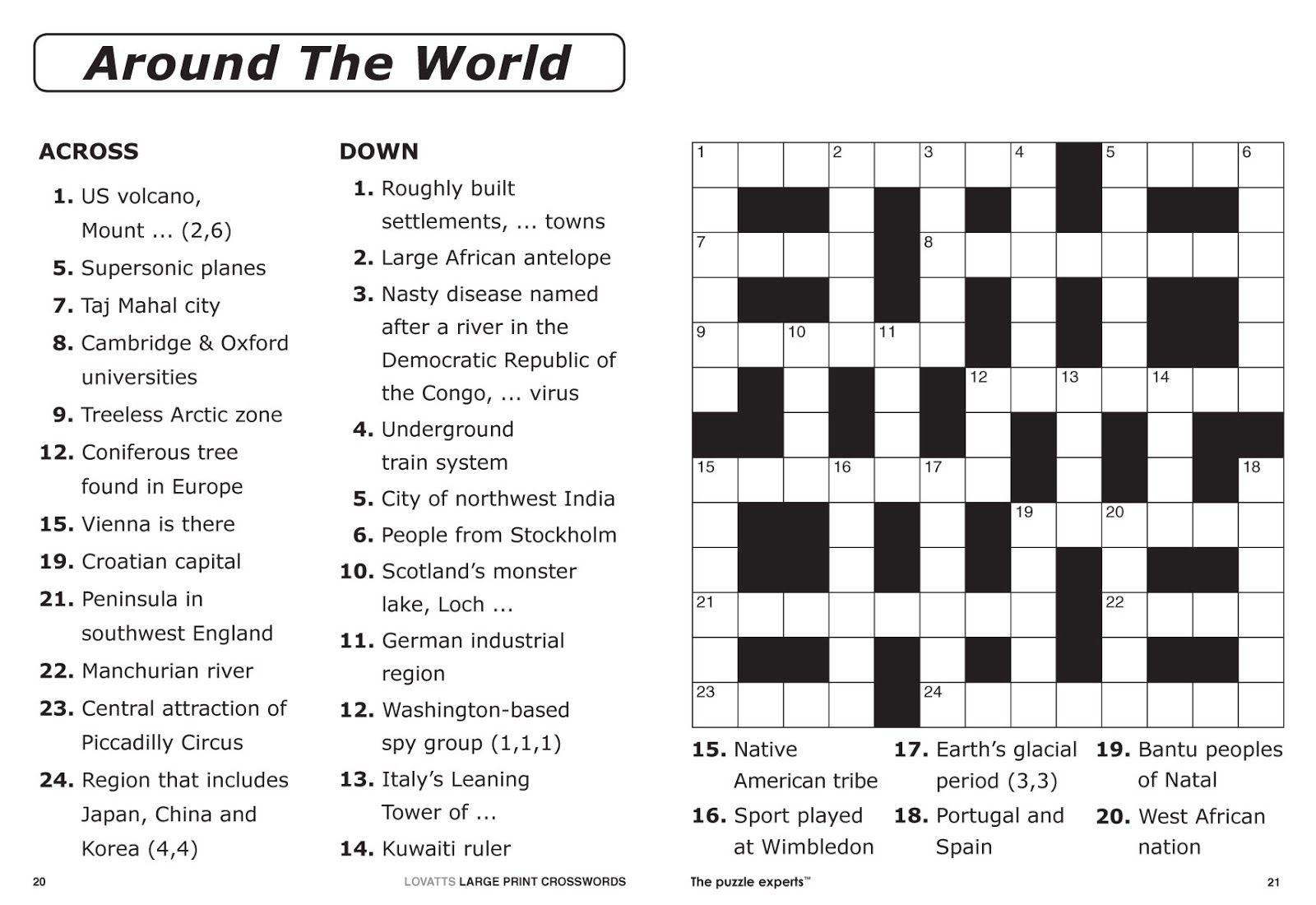 Free Printable Large Print Crossword Puzzles | M3U8 - Free Printable Crosswords