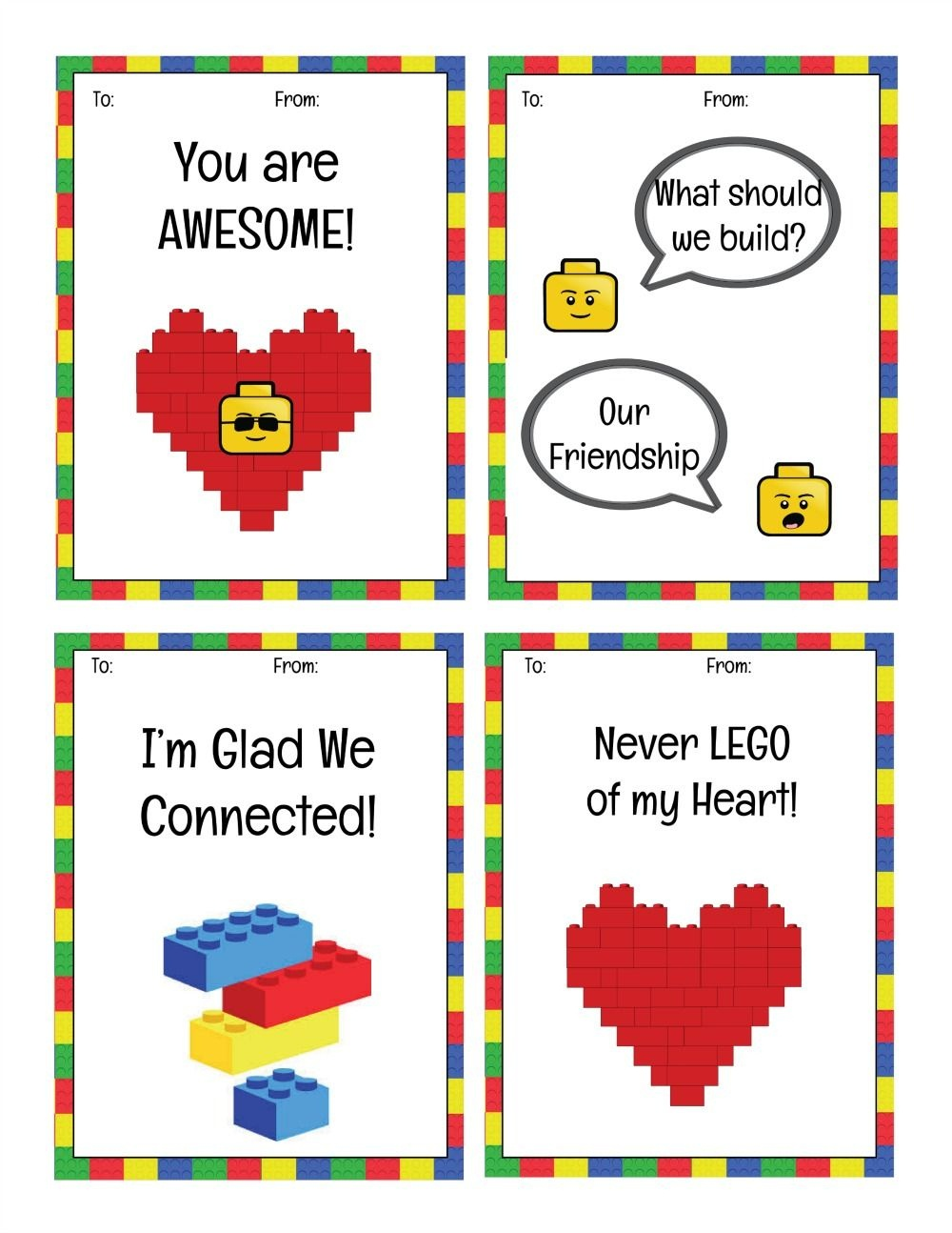 Free Printable Lego Valentine's Day Cards | Valentine's Day | Lego - Free Printable Ninjago Valentine Cards