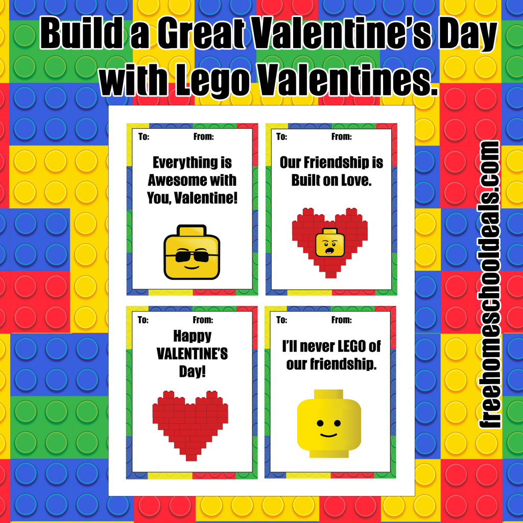 Free Printable Lego Valentines! (Instant Download) | Free Homeschool - Free Lego Printables