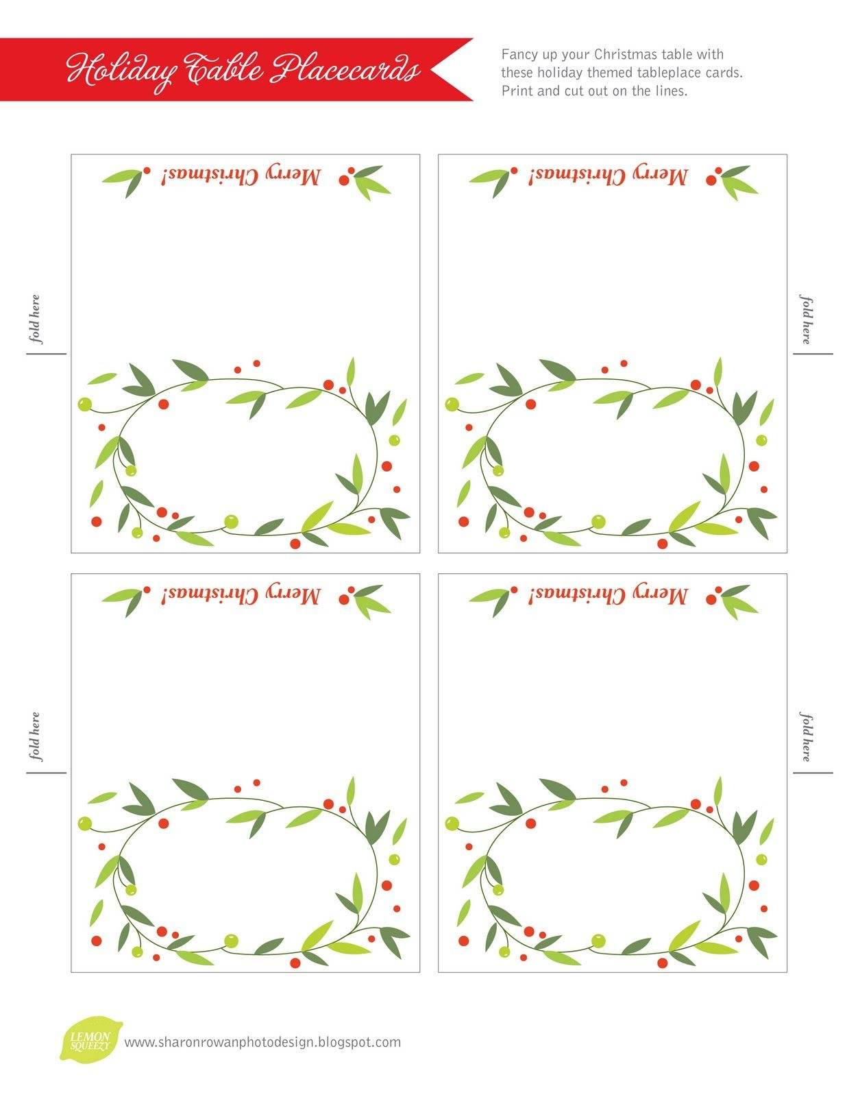Free Printable Lemon Squeezy: Day 12: Place Cards   Work Stuff - Free Printable Place Cards Template