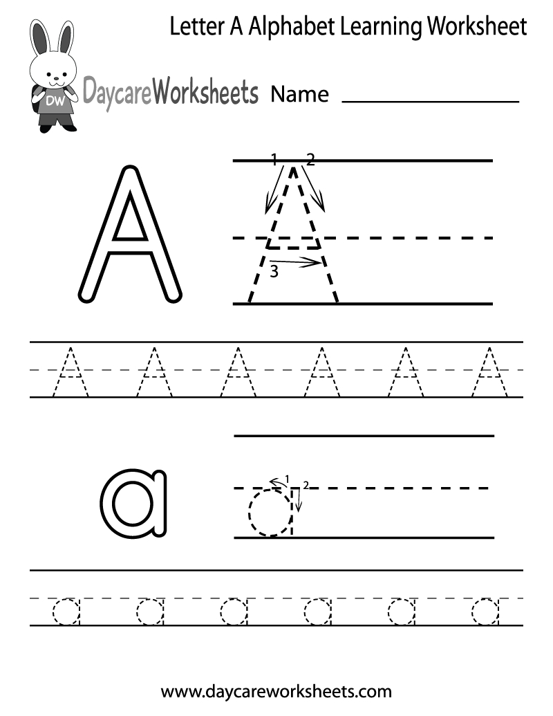 Free Printable Letter A Alphabet Learning Worksheet For Preschool - Free Printable Alphabet Worksheets