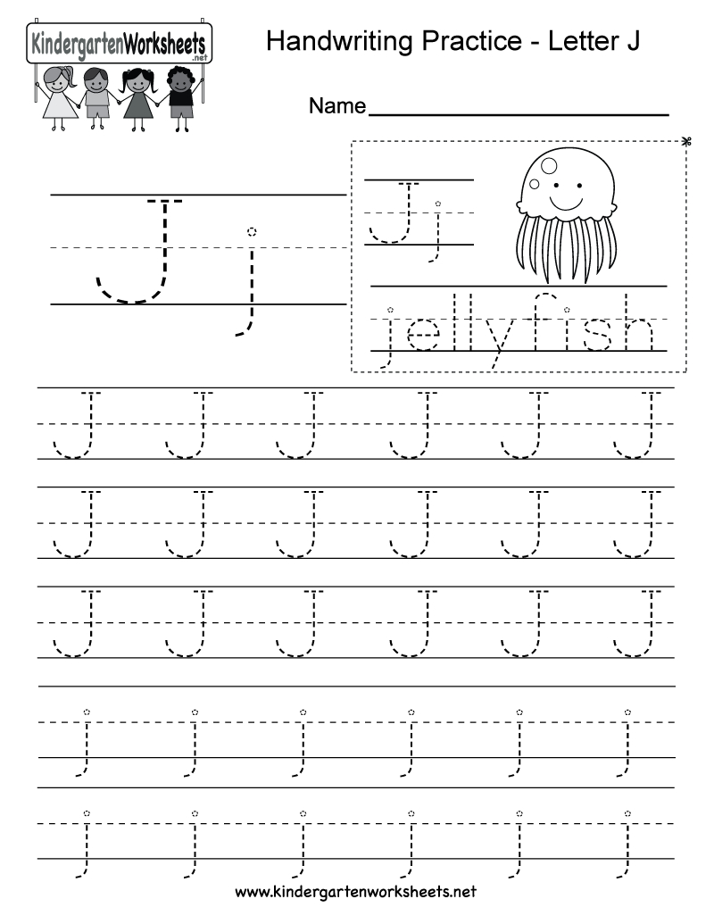 Free Printable Letter J Writing Practice Worksheet For Kindergarten - Free Printable Letter J
