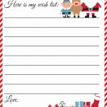 Free Printable Letter To Santa Template ~ Cute Christmas Wish List   Free Printable Christmas Wish List