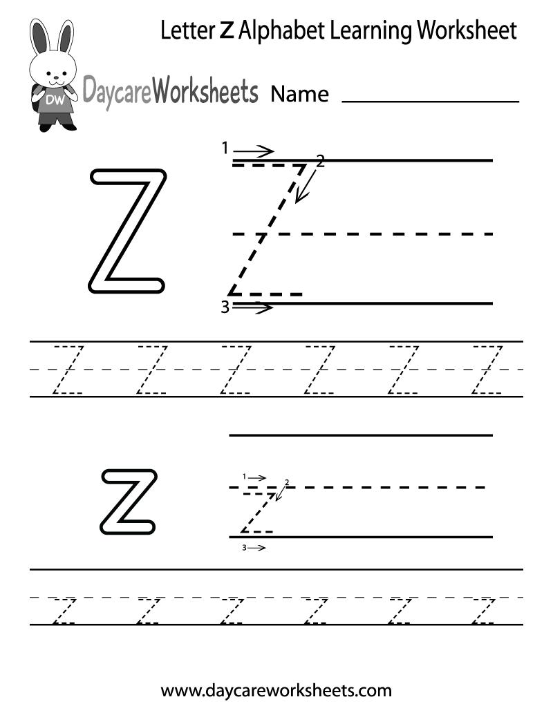 Free Printable Letter Z Alphabet Learning Worksheet For Preschool - Letter Z Worksheets Free Printable