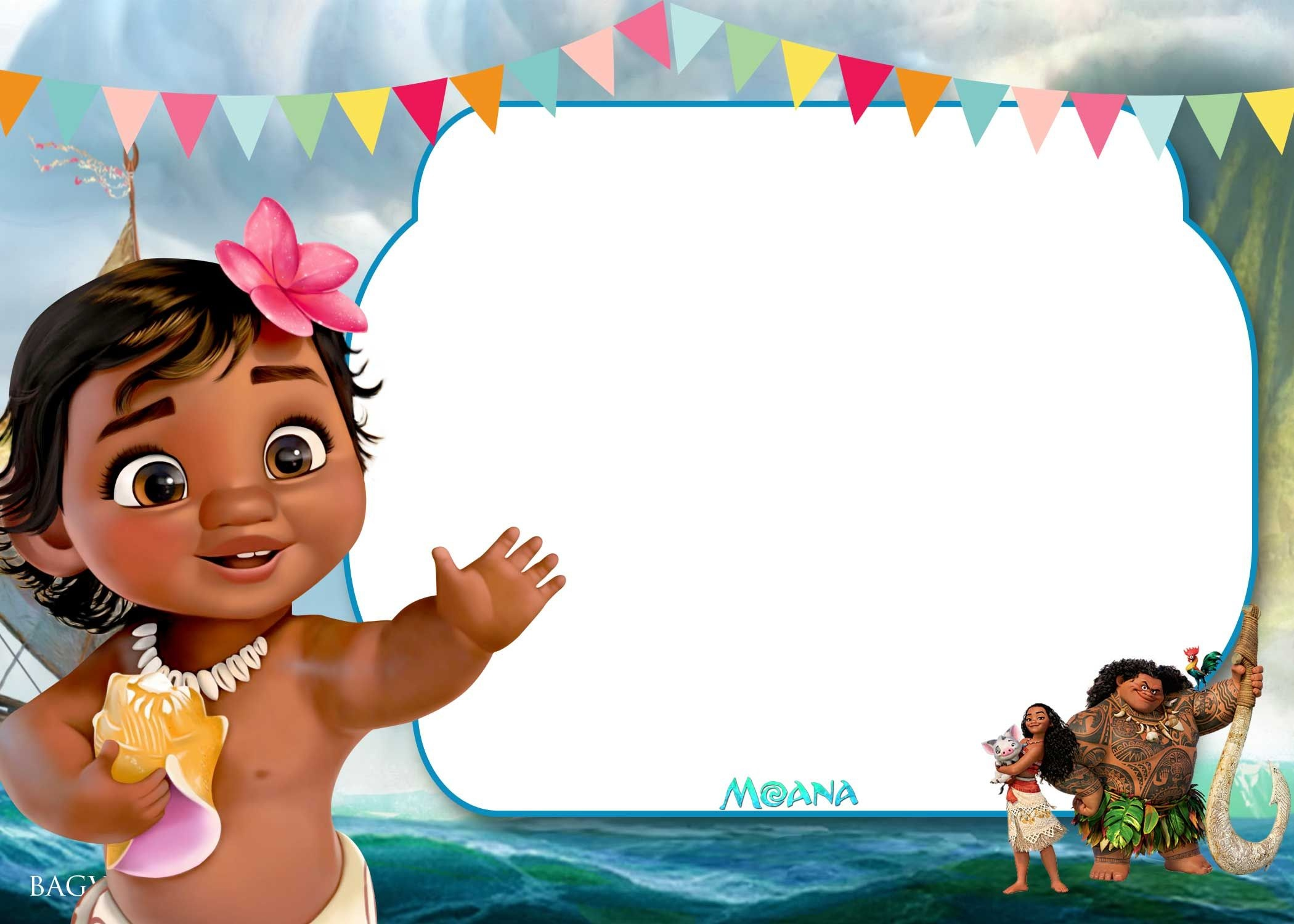 Free Printable Little Moana Birthday And Baby Shower | Moana - Free Printable Moana Birthday Invitations