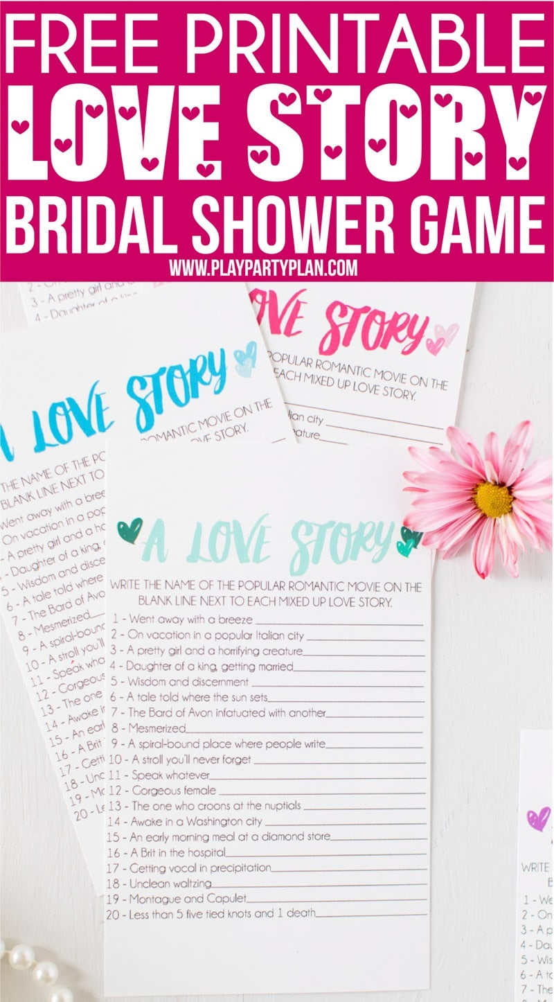 Free Printable Love Story Bridal Shower Game - Play Party Plan - Free Bridal Shower Printables