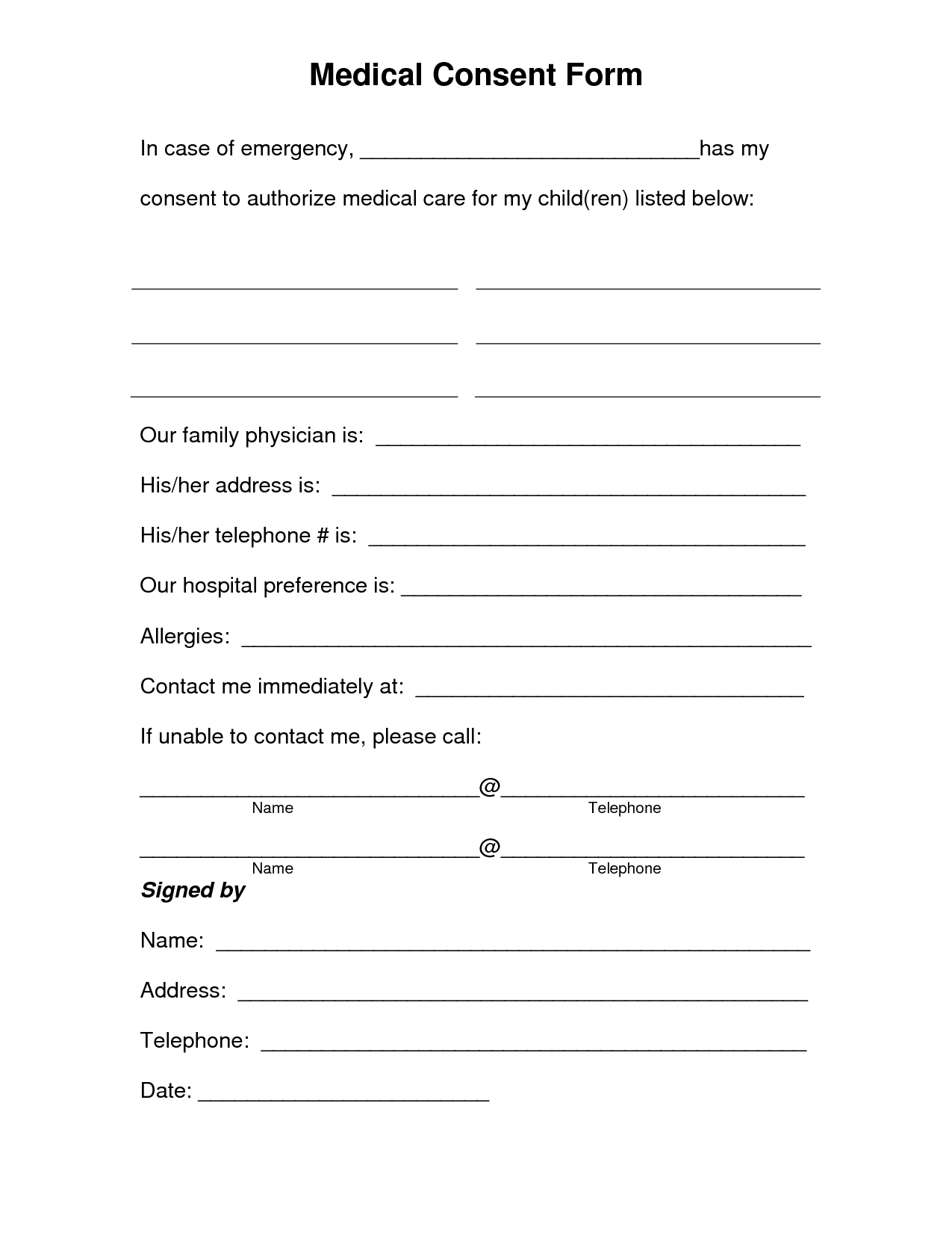 Free Printable Medical Consent Form | Free Medical Consent Form - Free Printable Emergency Medical Card