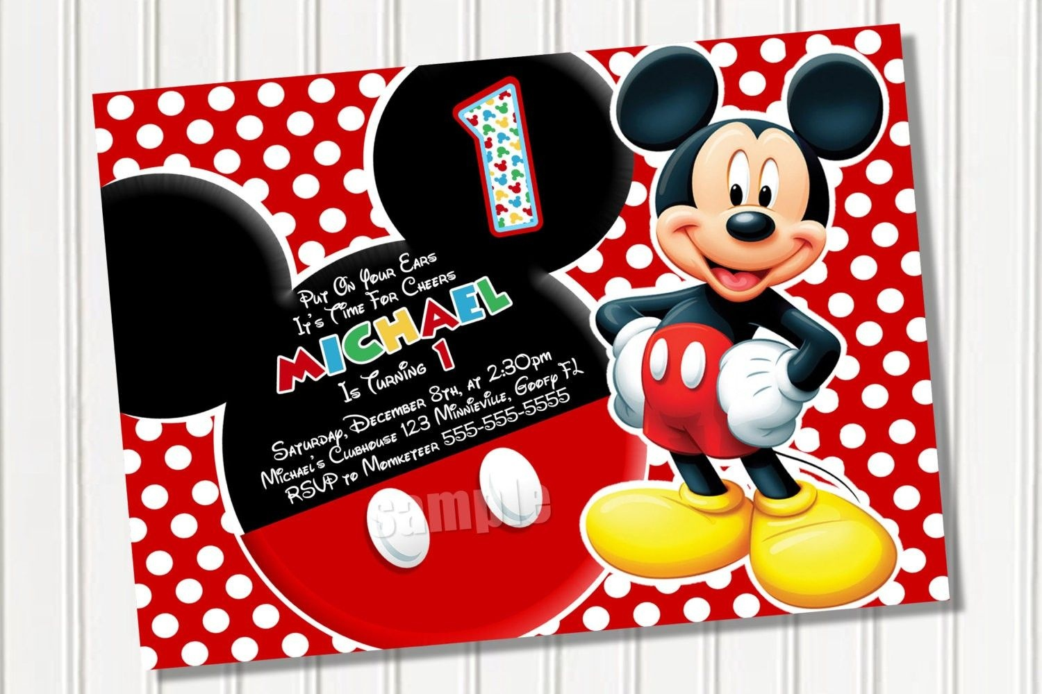 Free Printable Mickey Mouse 1St Birthday Party Invitations | Israel - Free Printable Mickey Mouse 1St Birthday Invitations