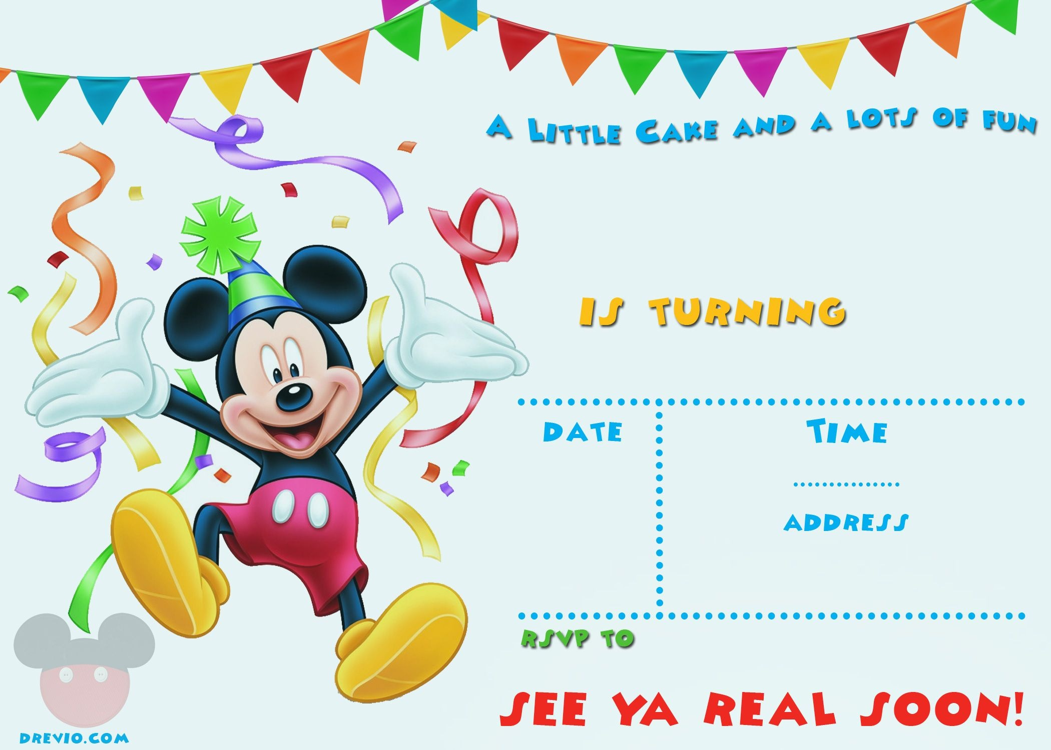 Free Printable Mickey Mouse Party Invitation Template | Free - Free Printable Mickey Mouse 1St Birthday Invitations