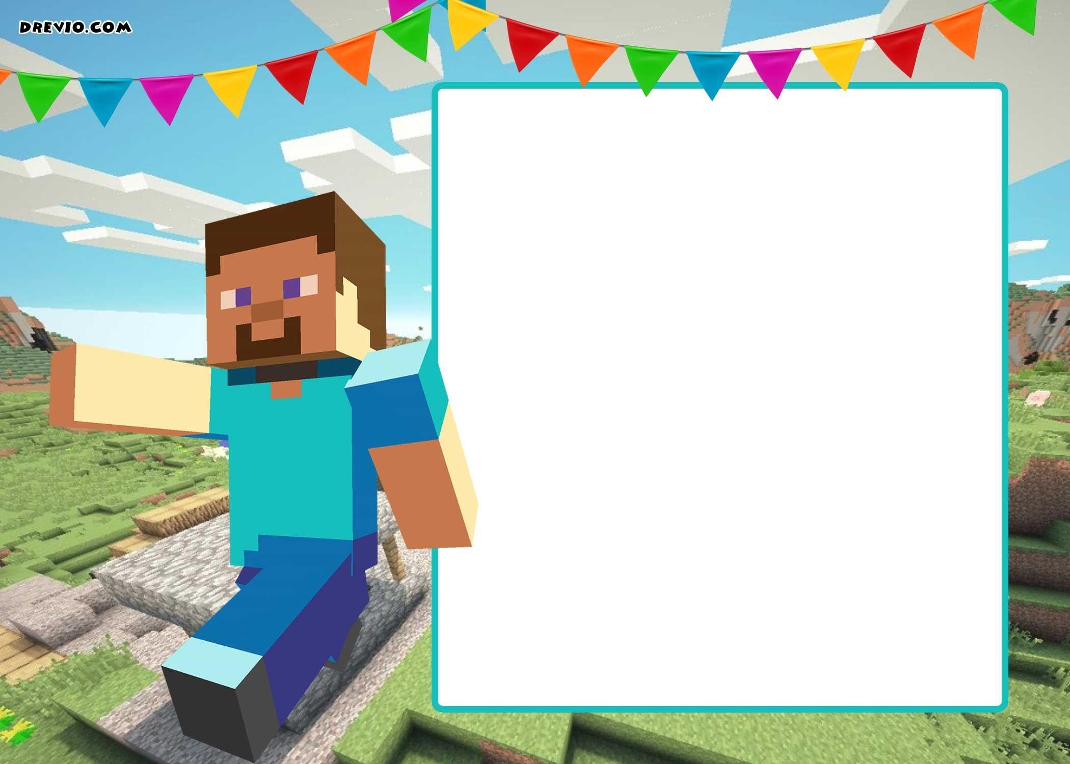 Free Printable Minecraft Birthday Invitation | Party Printables - Free Printable Minecraft Birthday Party Invitations Templates