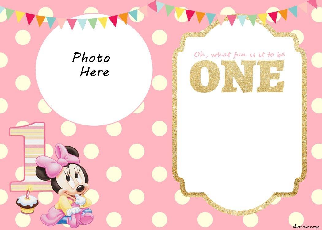 Free Printable Minnie Mouse 1St Invitation | Talli | Minnie Mouse - Free Printable Mickey Mouse Invitations