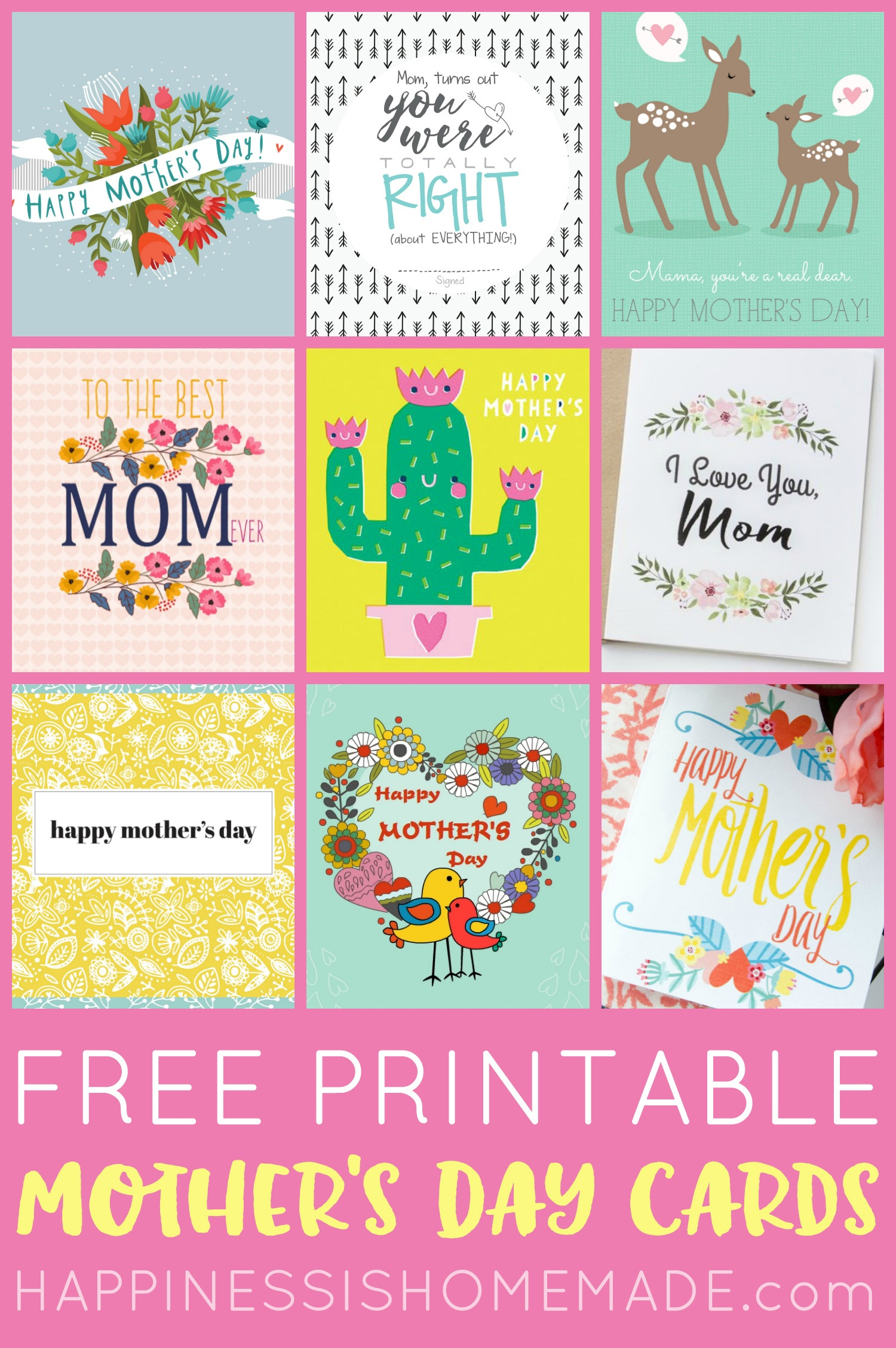 Free Printable Mother's Day Cards - Happiness Is Homemade - Free Printable Picture Cards