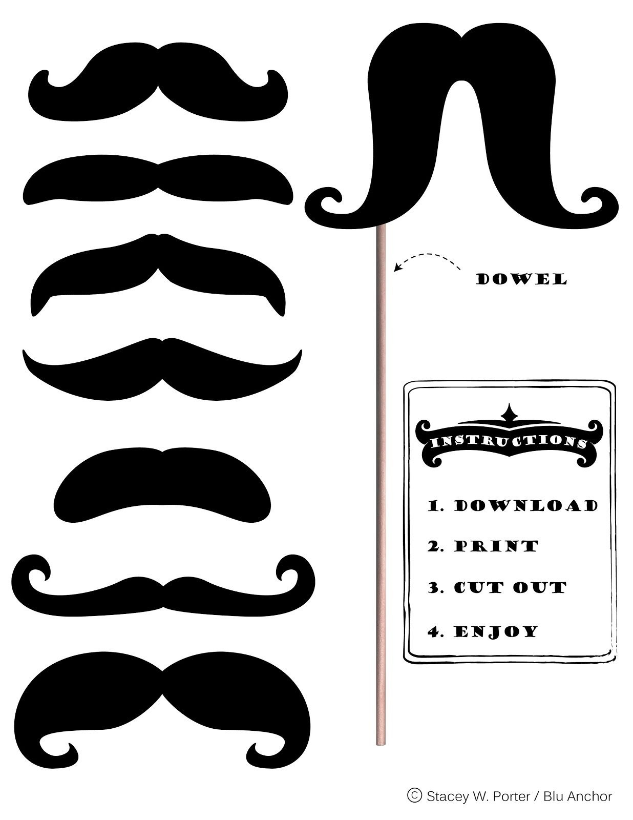 Free Printable Moustache Brigade For #movember | Stacey W. Porter - Free Printable Western Photo Props