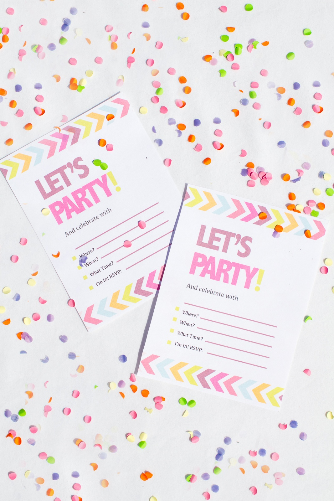 Free Printable Neon & Chevron Hen Party Bachelorette Party Invites - Free Chevron Printable Invitations