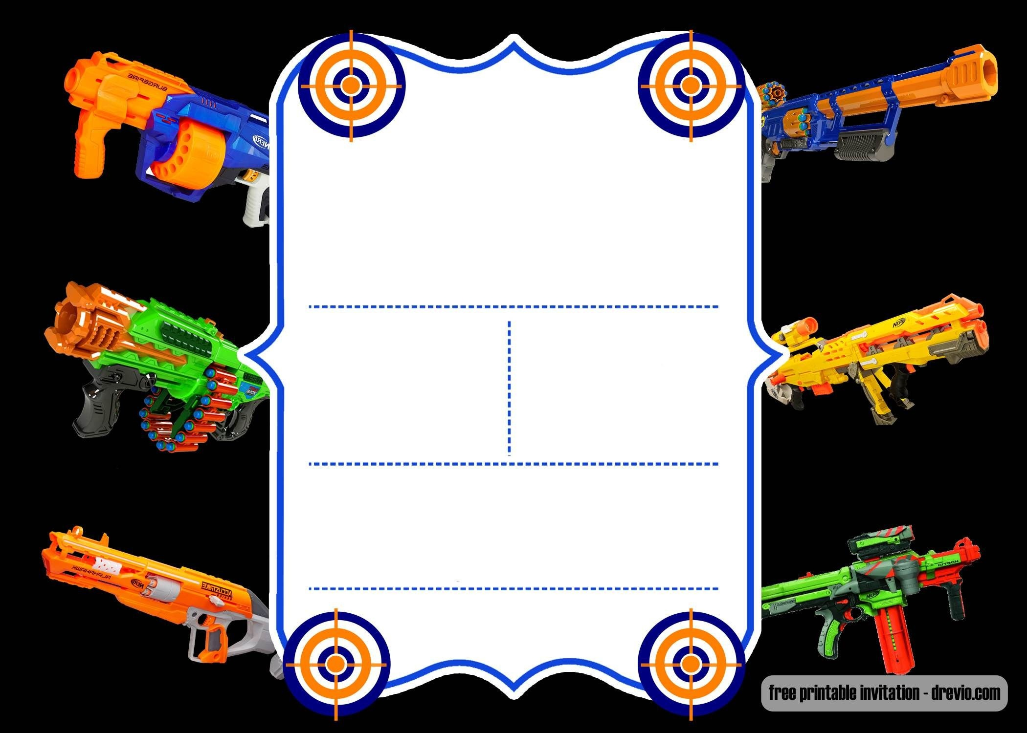 Free Printable Nerf Invitation Template - New | Free Printable - Free Printable Nerf
