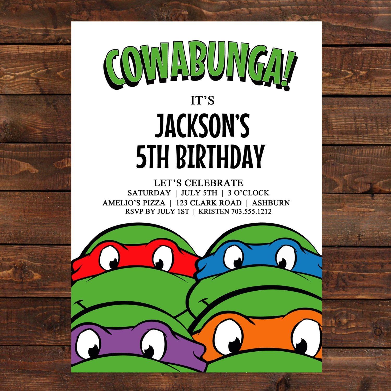 Free Printable Ninja Turtle Birthday Invitations | Želve | Convites - Free Printable Ninja Turtle Birthday Invitations
