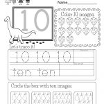 Free Printable Number Ten Worksheet For Kindergarten   Free Printable Number Worksheets