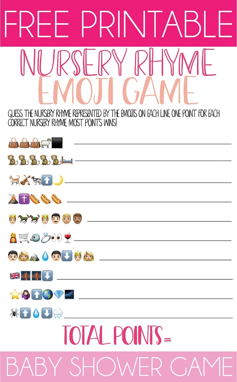 Free Printable Nursery Rhyme Baby Shower Emoji Game - Play Party Plan - Emoji Baby Shower Game Free Printable