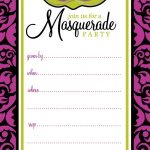 Free Printable Party Invitations: Masquerade Or Mardi Gras Party   Free Printable Masquerade Birthday Invitations
