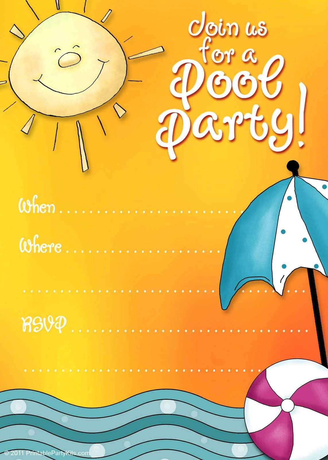 Free Printable Party Invitations: Summer Pool Party Invites | Adhd - Free Printable Pool Party Invitations