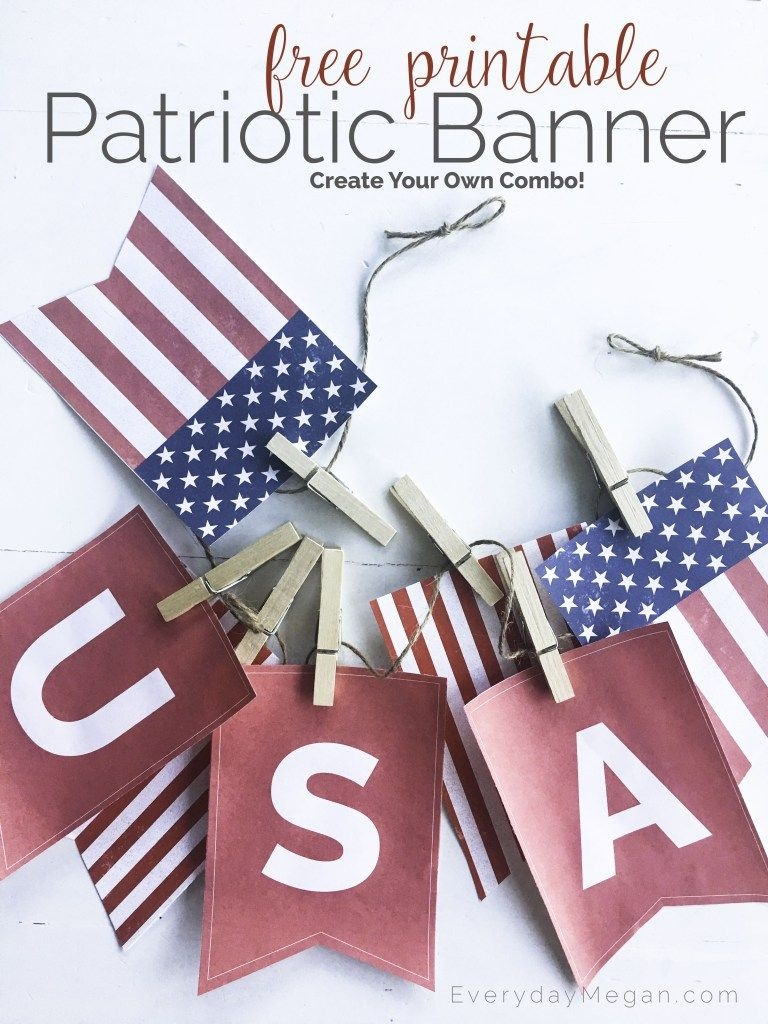 Free Printable Patriotic Banner | Everydaymegan | Free - Free Printable Patriotic Banner