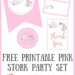 Free Printable Pink Stork Baby Shower Party Set | Free Must Have   Free Stork Party Invitations Printable