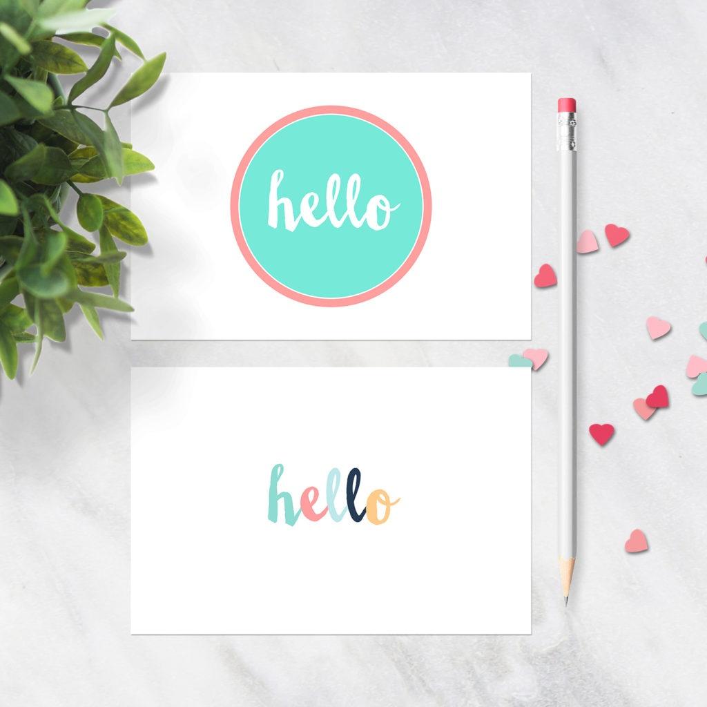 Free Printable Postcards - Hello Design - Set Of 2 Postcards - Free Printable Postcards