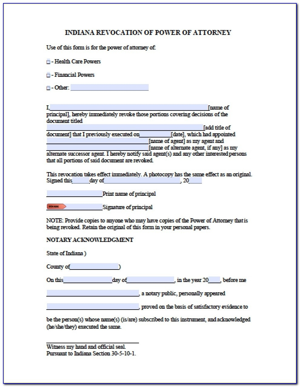 Free Printable Power Of Attorney Form Indiana - Form : Resume - Free Printable Power Of Attorney Forms