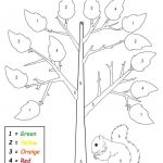 Free Printable Preschool Fall Themed Color By Number Worksheet   Free Printable Autumn Worksheets