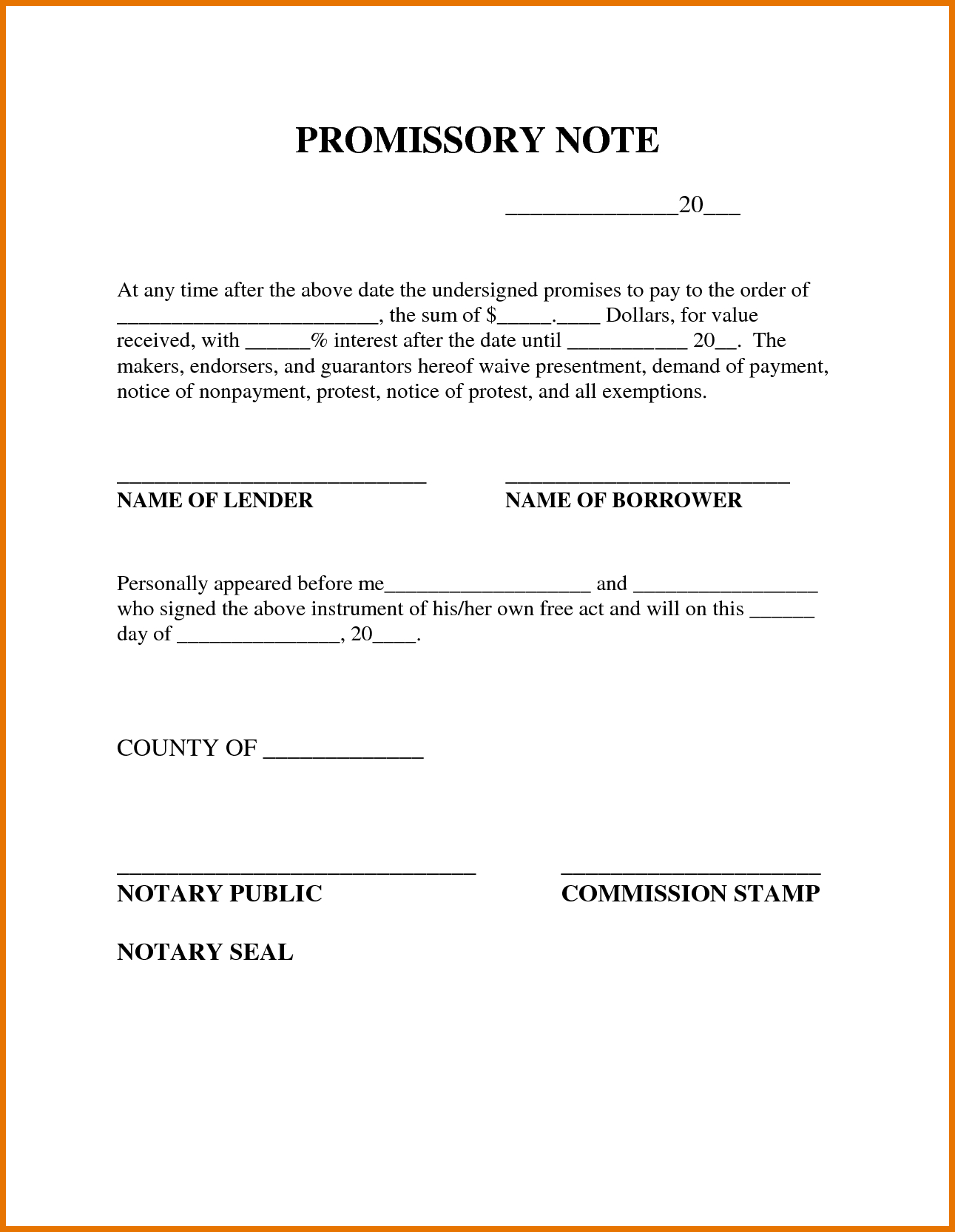 Free Printable Promissory Note Template : Violeet - Free Printable Promissory Note For Personal Loan