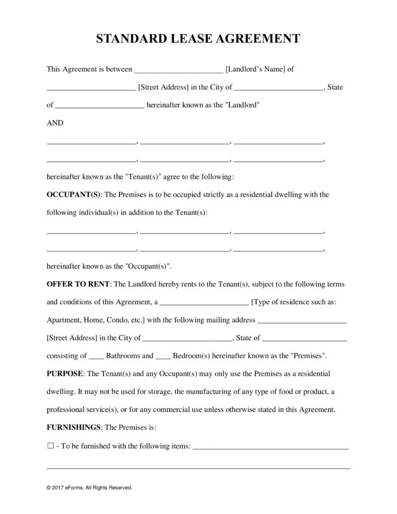 Free Printable Rental Lease Agreement - Kaza.psstech.co - Free Printable Lease Agreement Pa