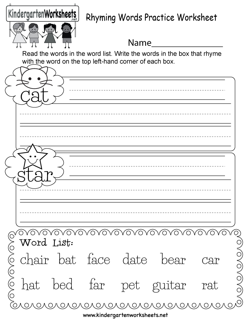 Free Printable Rhyming Words Practice Worksheet For Kindergarten - Free Printable Rhyming Words Worksheets