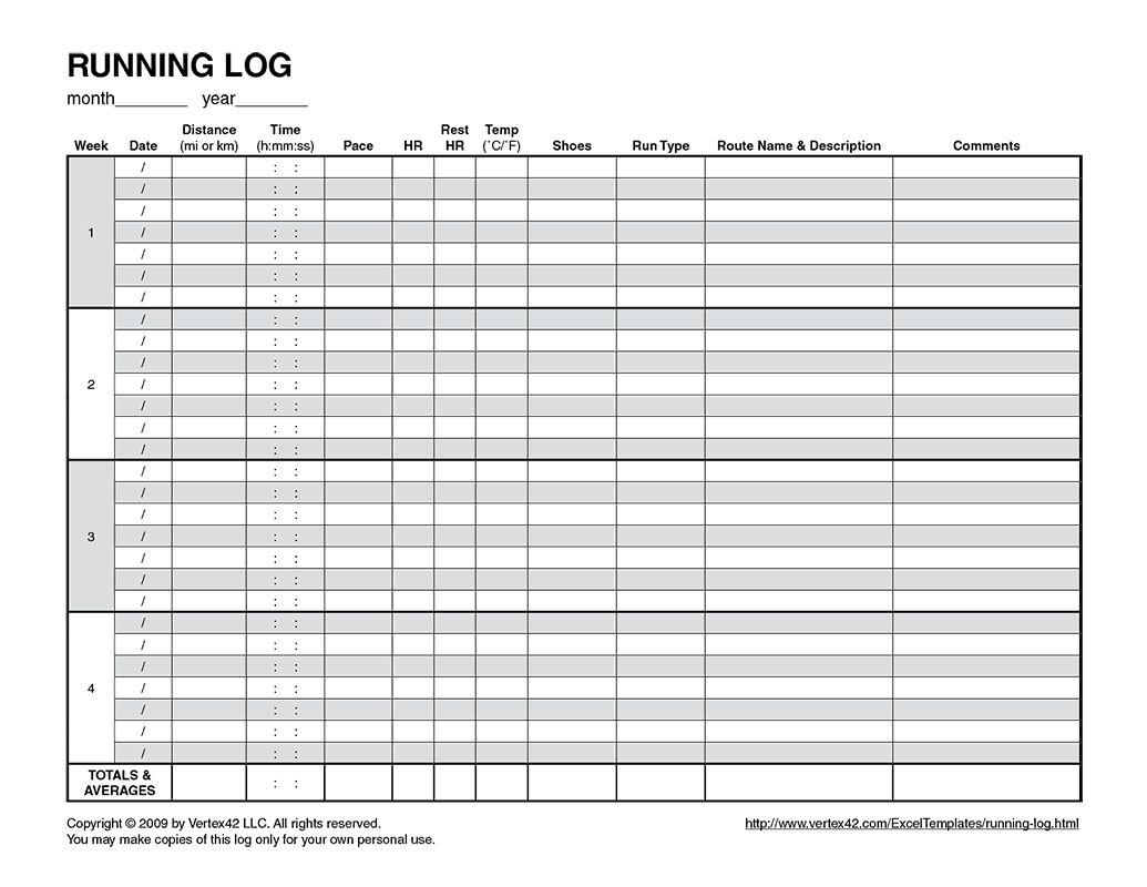 Free Printable Running Log (Pdf) From Vertex42 | Running - Free Printable Running Log