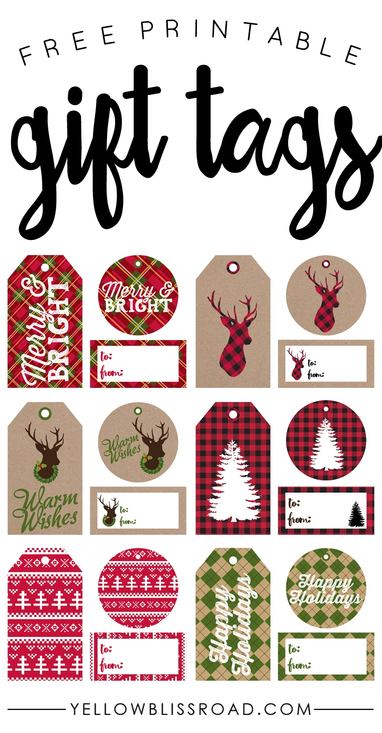 Free Printable Rustic And Plaid Gift Tags - Yellow Bliss Road - Christmas Name Tags Free Printable