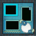 Free Printable Scrapbook Layouts | Blue And Stripes Layout File Size   Free Printable Scrapbook Templates