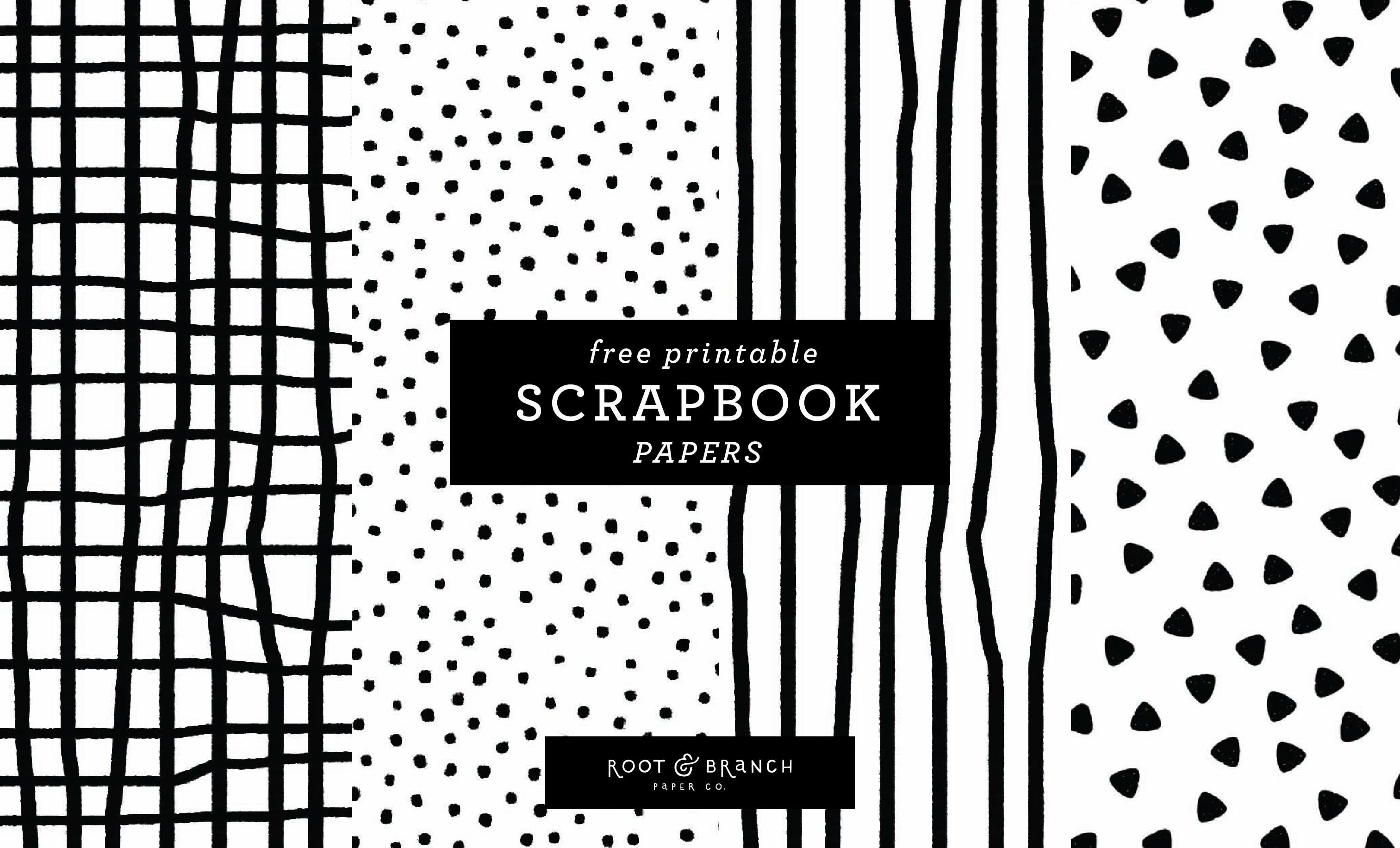 Free Printable Scrapbook Papers: Black And White Prints — Root - Free Printable Scrapbook Paper