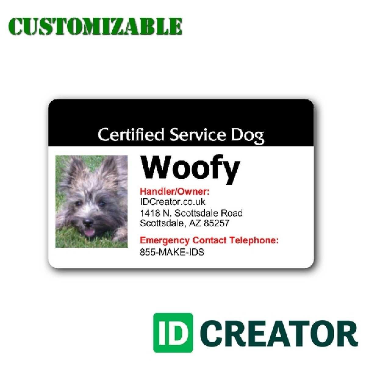 Free Printable Service Dog Id Card Template - Free Printable Service Dog