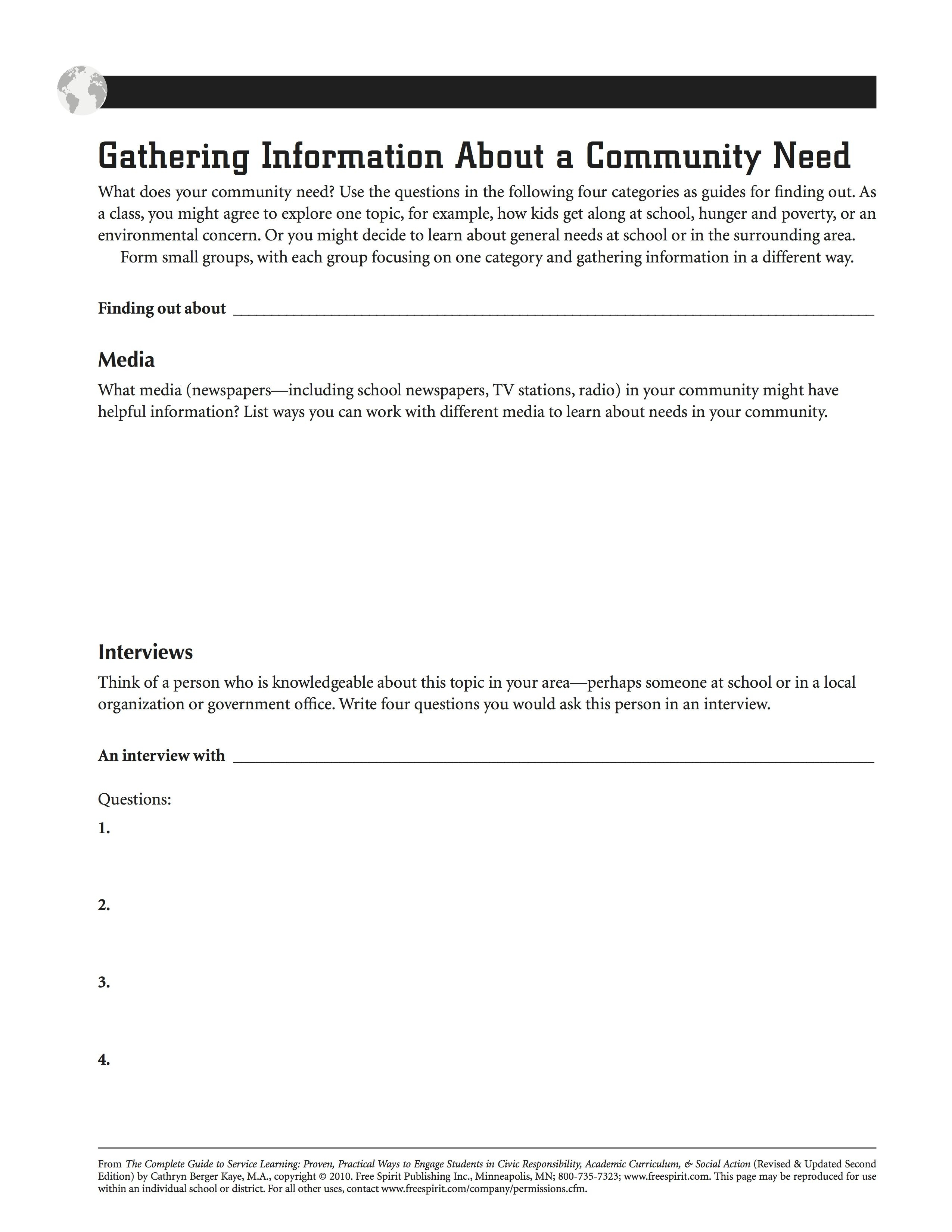 Free Printable Service Learning Worksheet: Gathering Information - Free Printable Customer Service Worksheets