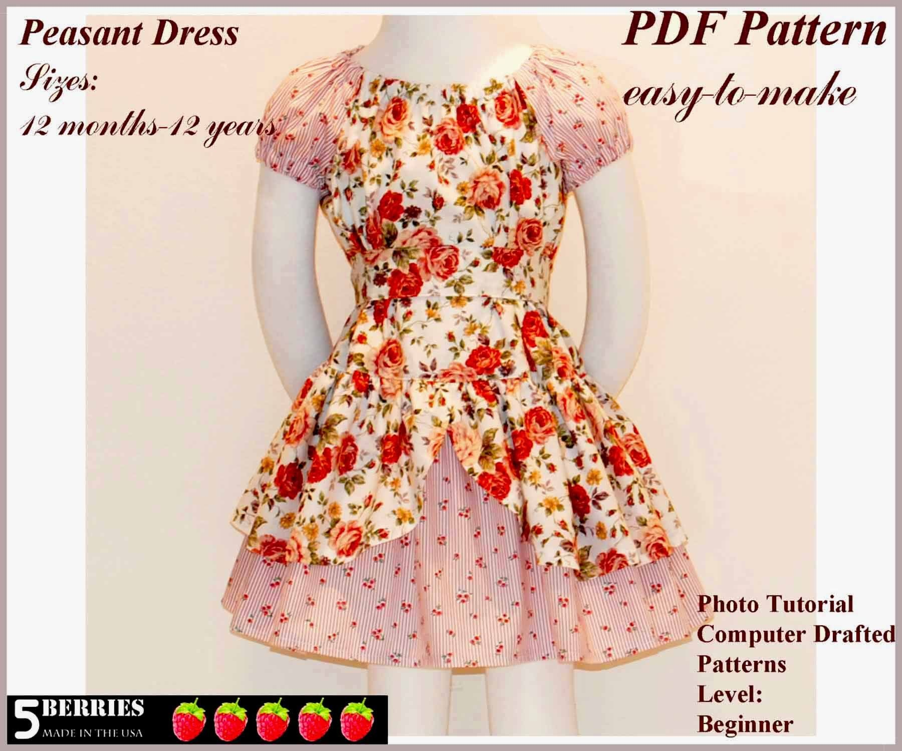 Free Printable Sewing Patterns | Alexandra Girls Dress Sewing - Free Printable Sewing Patterns For Kids