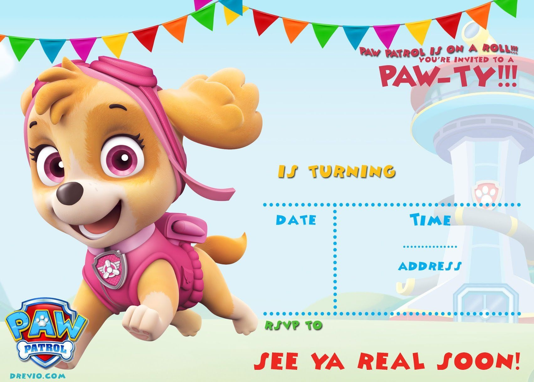 Free-Printable-Skye-Paw-Patrol-Invitation-Template – Free Invitation - Free Paw Patrol Birthday Printables
