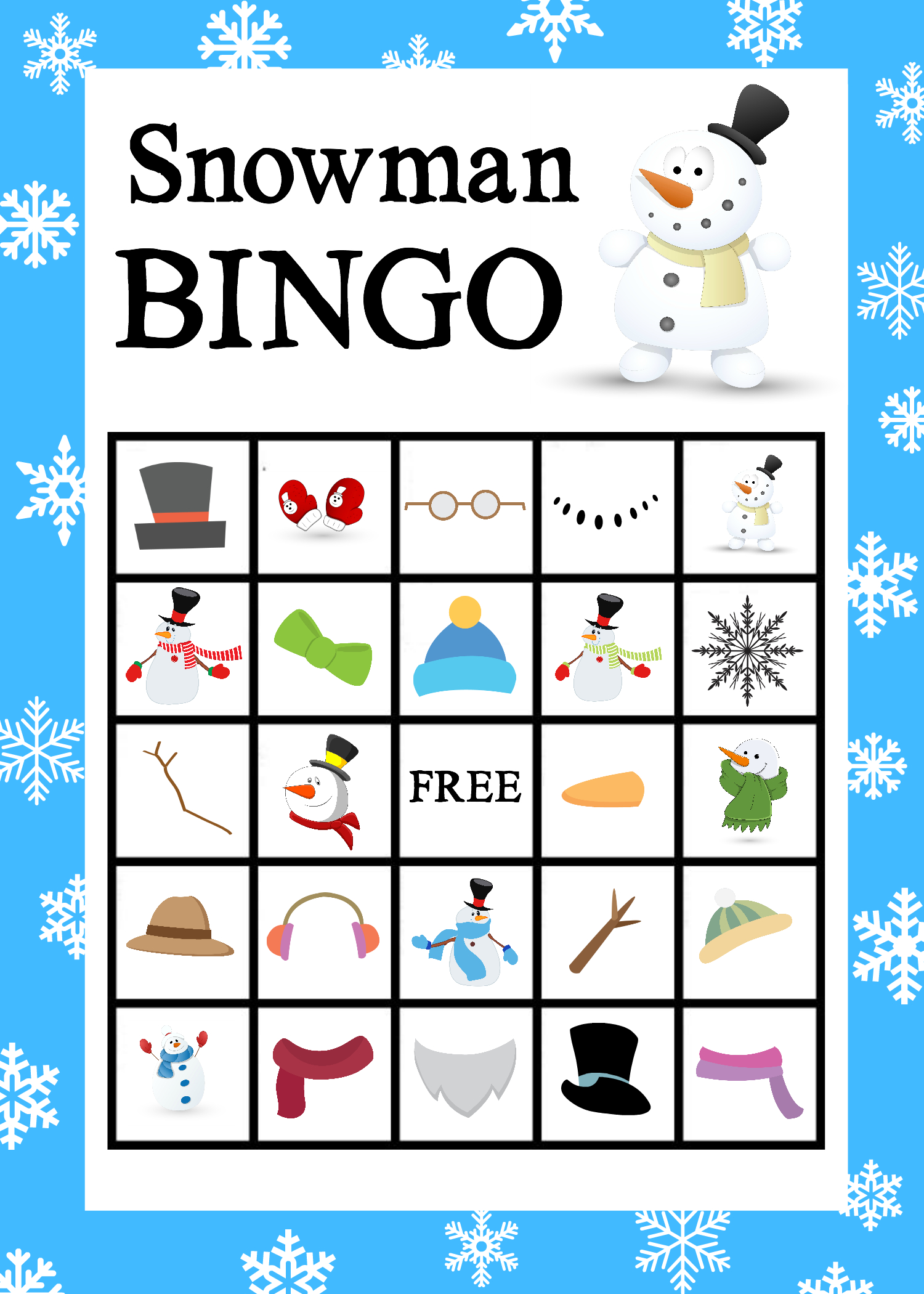 Free Printable Snowman Bingo Game | Winter Bliss | Christmas Bingo - Winter Bingo Cards Free Printable