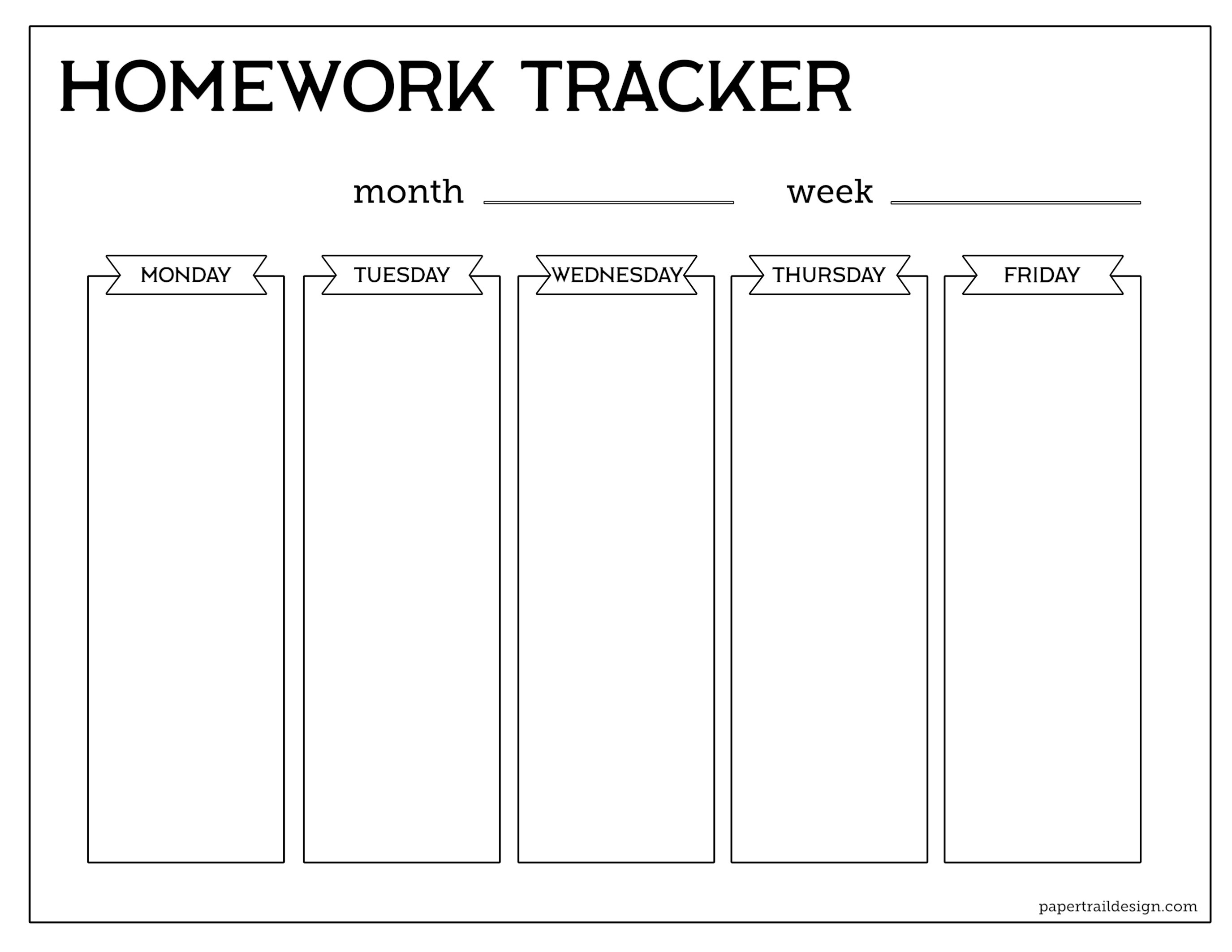 Free Printable Student Homework Planner Template - Paper Trail Design - Get Out Of Homework Free Pass Printable