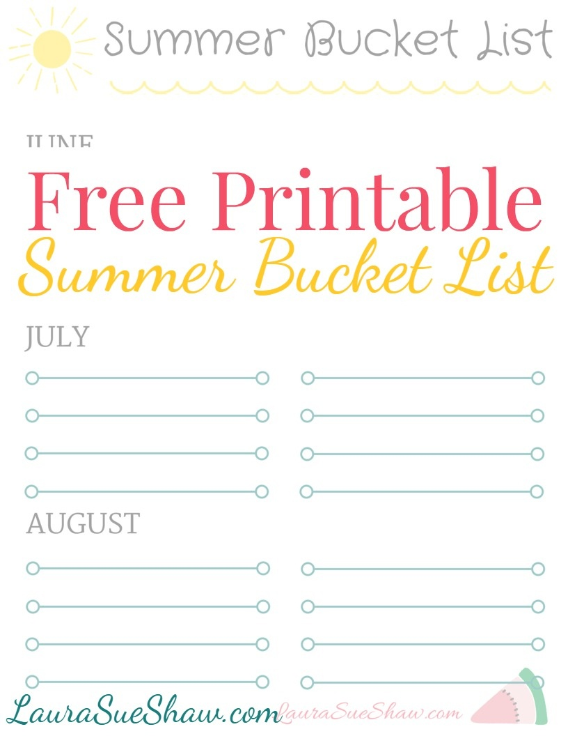 Free Printable Summer Bucket List - Free Printable Summer Pictures