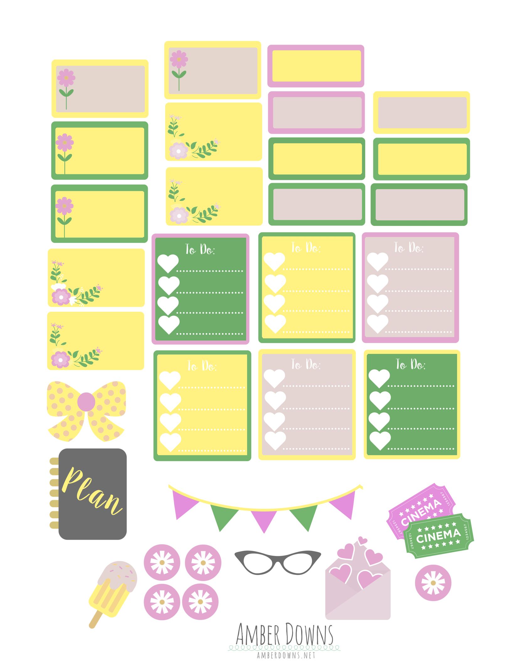 Free Printable Summer Planner Stickers | Amber Downs - Free Printable Summer Pictures