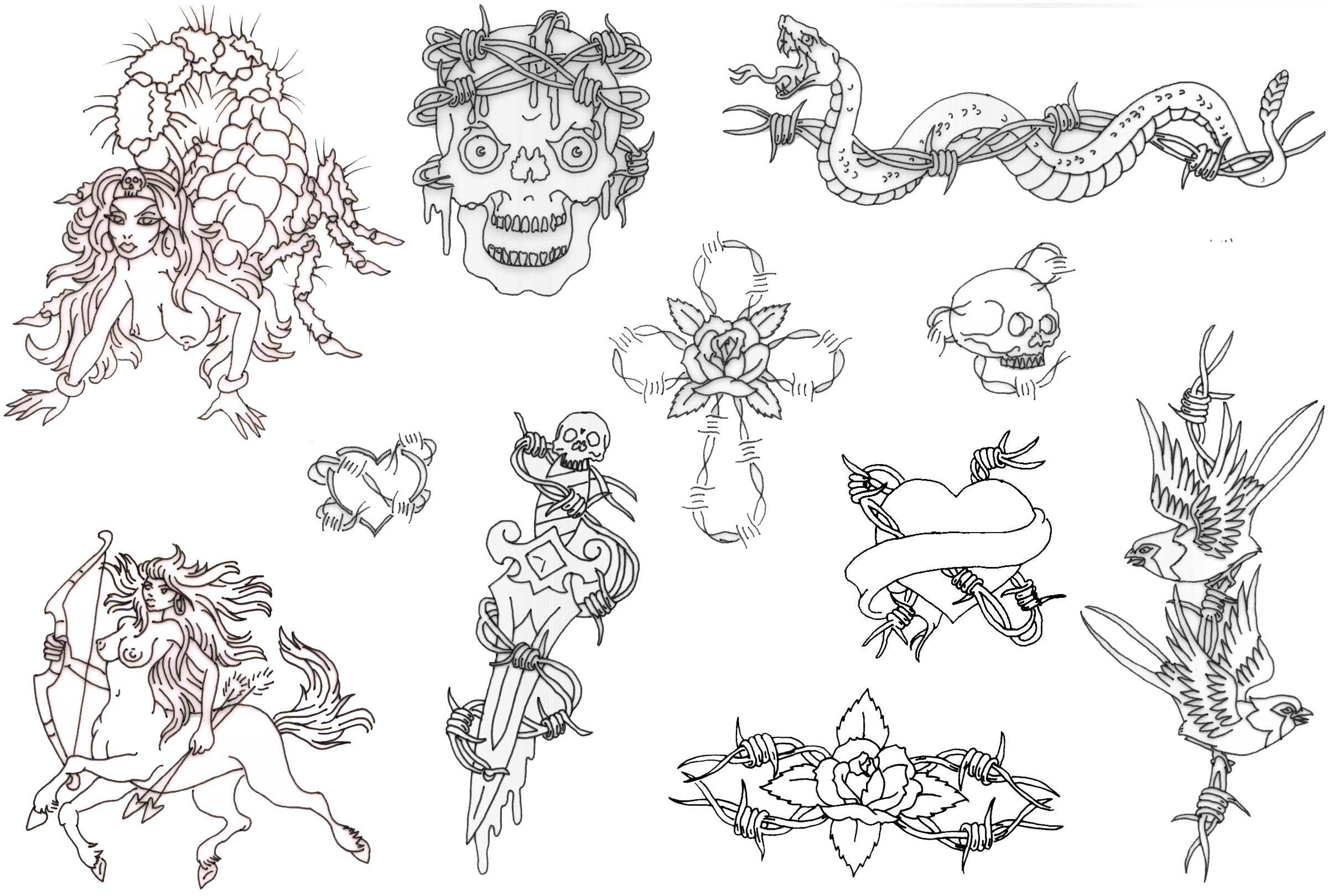 Free Printable Tattoo Flash | Album: Misc Flash Sheets Records 761 - Free Printable Tattoo Flash