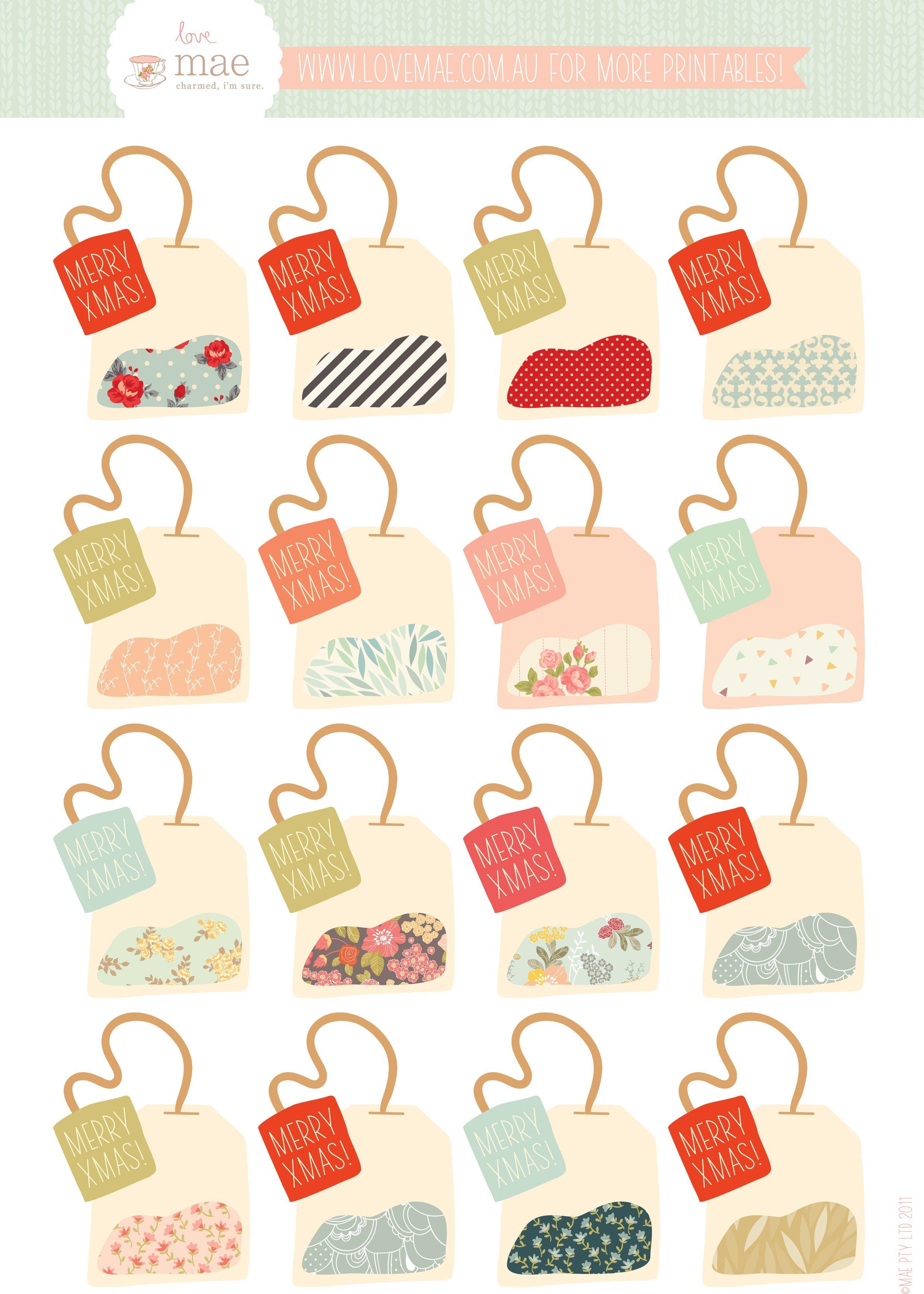 Free Printable Tea Bag Gift Tags (If Only It Didn't Say Xmas - Free Printable Gift Bag Tags