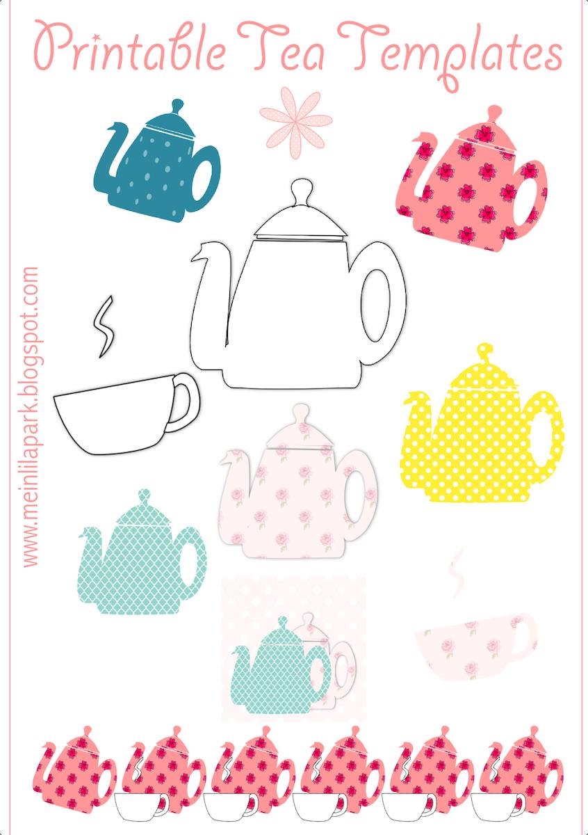 Free Printable Tea Templates + Digital Teapot Stamp - Teekanne - Free Printable Teacup Template
